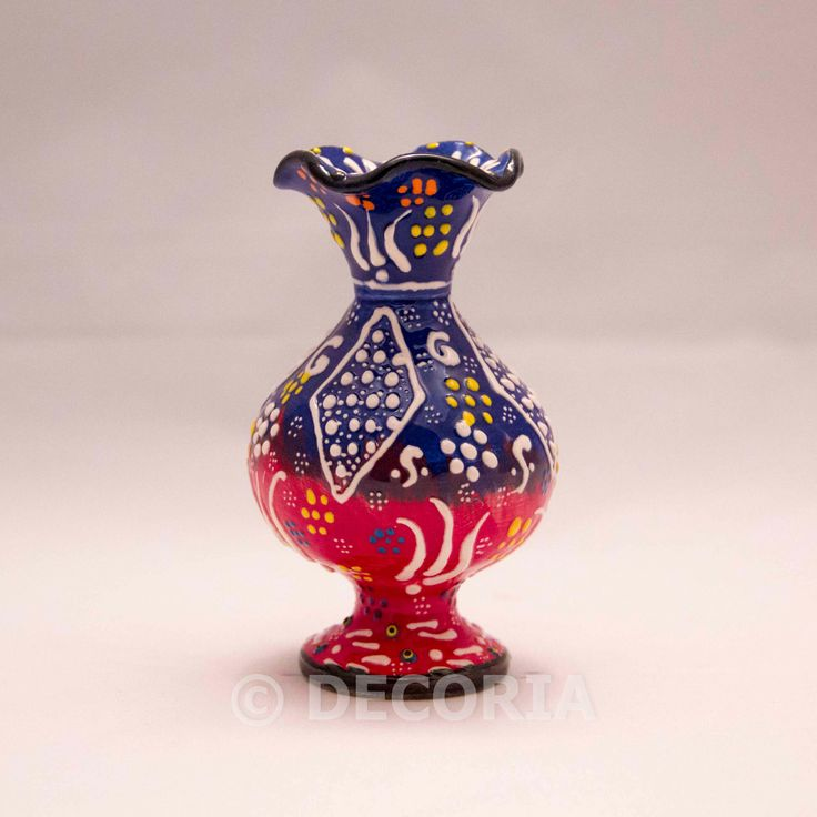 Small Vase - Blue & Red - DECORIA HOME & GIFT