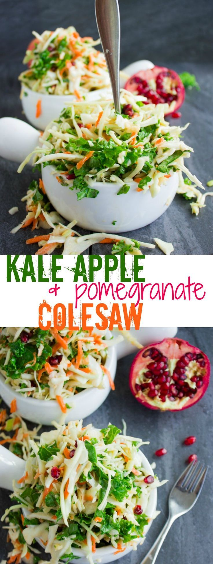 Coleslaw with Kale Apple Pomegranate. Easy, Light, Refreshing, Zesty, Crunchy, Sweet and Satisfying! Vegan, Gluten Free, Healthy and SO good slaw that makes a perfect picnic, BBQ, potluck salad! Don't miss this recipe! www.twopurplefigs.com