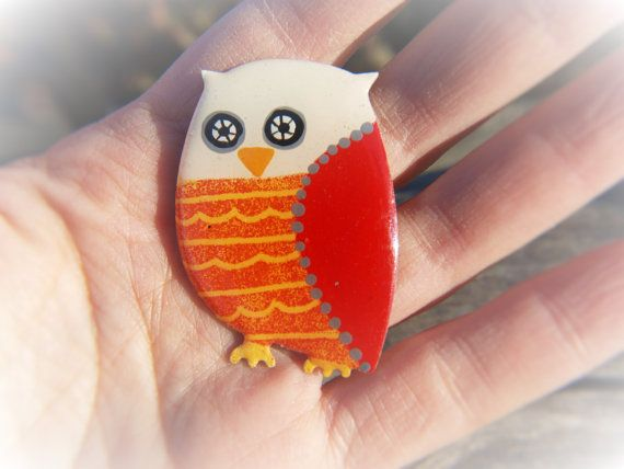 Stainless Steel Red Owl Brooch Hoot Pin Owl Jewelry by CinkyLinky