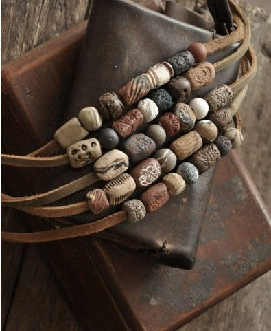 Clay Bead Leather Necklace Mens # WebMatrix 1.0