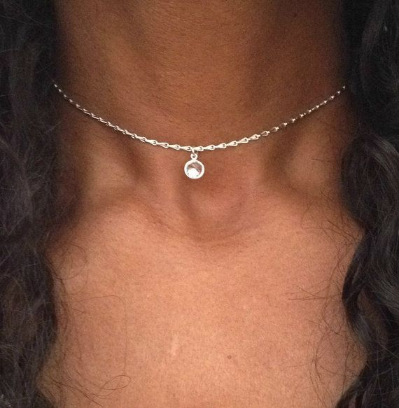 Silver Choker Sterling Silver Choker Necklace by PABJewellery