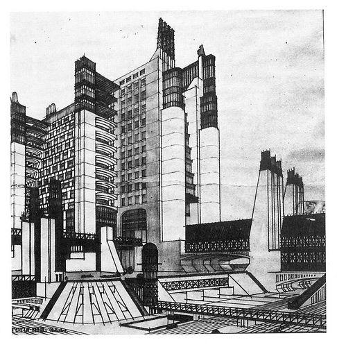 Sant Elia, Exposición ''Città Nuevo''. Recopilación de planos y dibujos. El objetivo no es el edificio sino la estructura urbana.