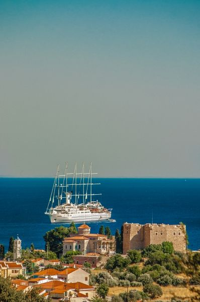 The castle of Pythagorion and the yacht Samos island, Greece