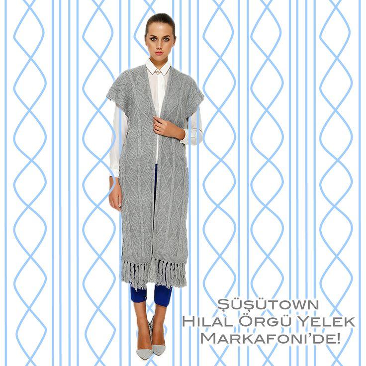 Şüşütown Hilal Örgü Yelek Waist hijab style www.susutown.com