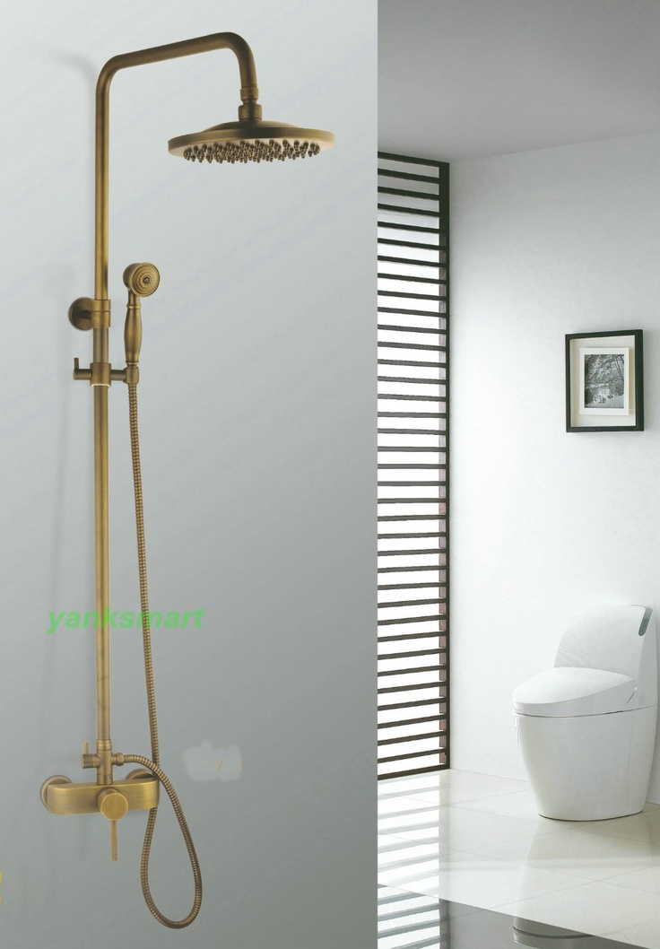 8'' shower head Antique Brass Finish Bathroom Rainfall Shower Faucet Set NF21-in Faucet Accessories from Home Improvement on Aliexpress.com
