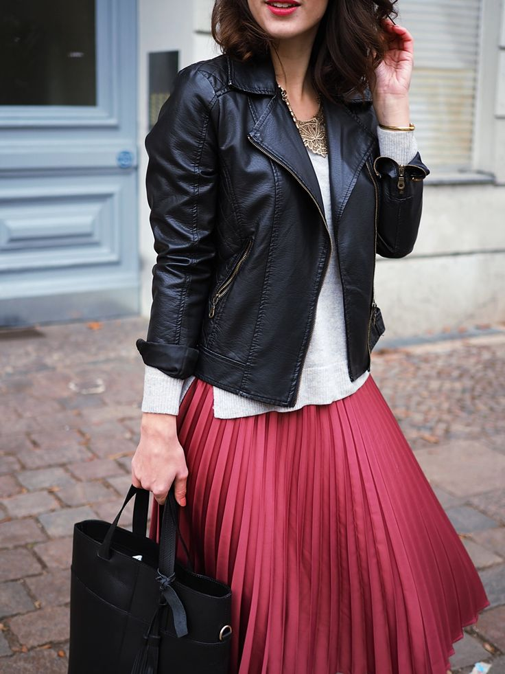 Satin Midi Skirt Streetstyle berlin mint and berry midi skirt winter autumn cold biker jacket leather jacket cashmere sweater blog fashion samieze oasis asos nelly heels
