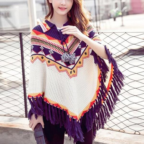 48 best Fashion fringe poncho sweater for women images on ...