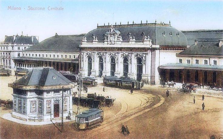 1910 - Old Milan Central station in a color postcard