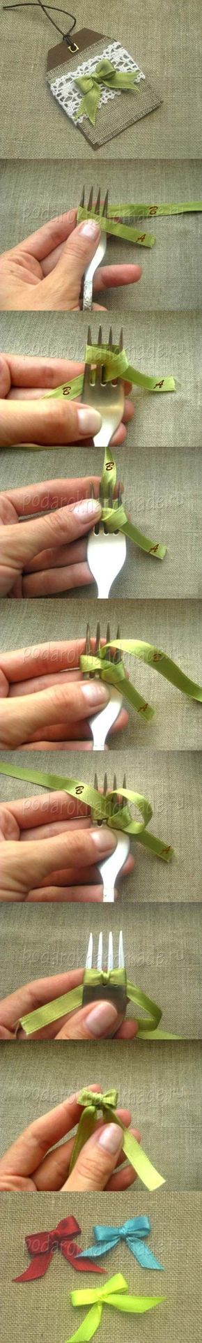 Wie man einfach eine kleine Geschenkschleife bindet - mit einer Gabel! <3