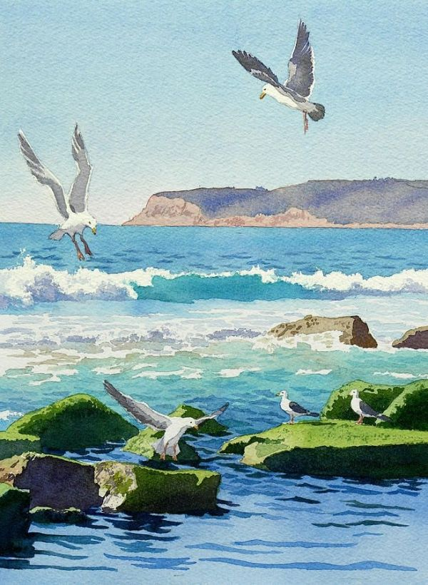 Mary Helmreich WATERCOLOR Point Loma Rocks Waves And Seagulls Painting by christina carrera