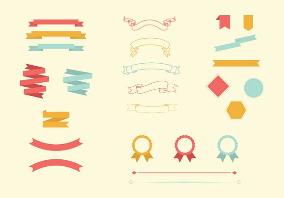 Vector ribbon, banner, border pack by Design Shop on @creativemarket