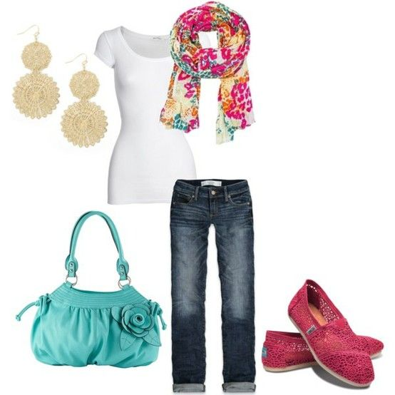 Love this!! Wear a colorful scarf with tons of shades, and your accessory options are endless!!  http://debsheartandhome.com/wp-content/uploads/2012/04/spring.jpg
