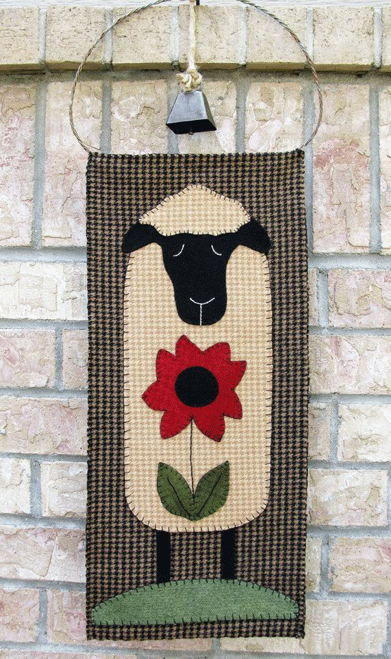 Sheep Wool Applique Wall Hanging or Table by SimplyUniqueBySheila