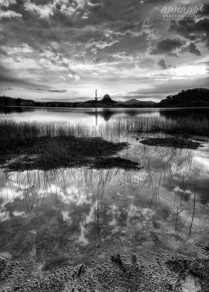 What If The Universe Was In Black & White? by Muktasyaf AnNamir  Beautiful sunset hours at Huffaz Lake, Hulu Selangor, Malaysia.