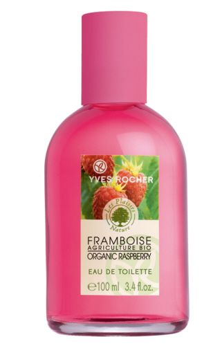 Yves Rocher's Plaisirs Nature Raspberry Eau de Toilette, the smell of freshly picked raspberries! Eau de toilette Plaisirs Nature aux framboises d'Yves Rocher, l'odeur des framboises fraîchement cueillîtes !