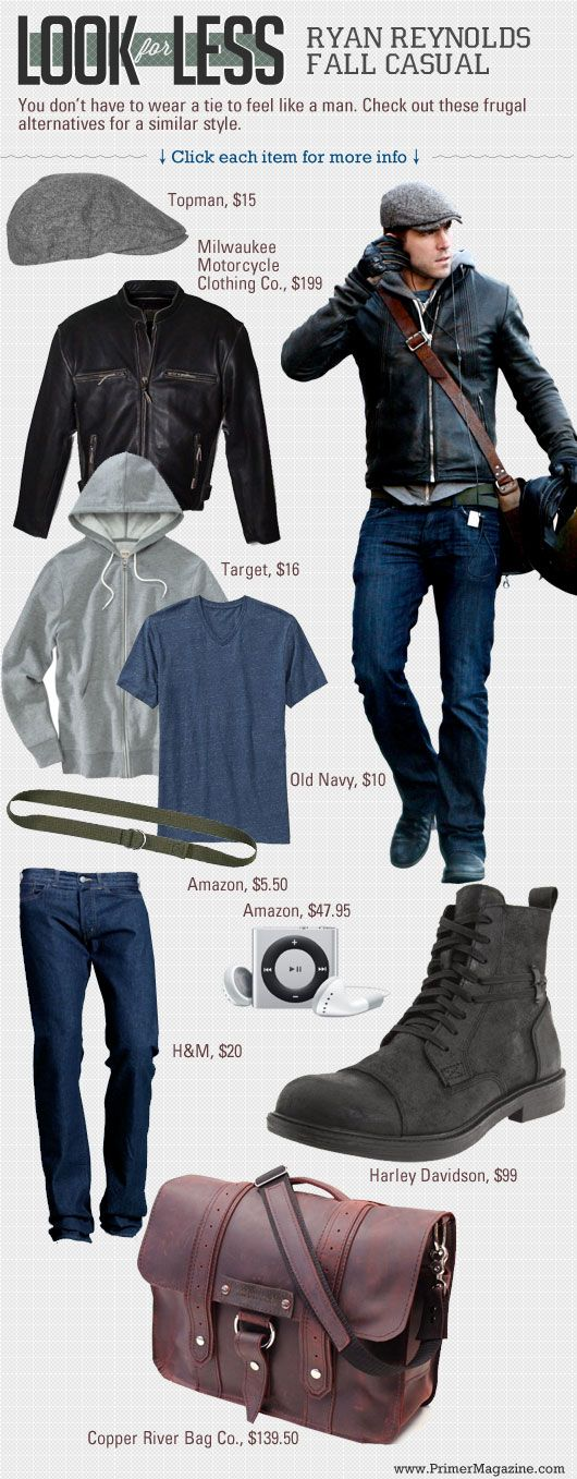 #StealHisStyle for Less: Ryan Reynolds in Fall Casual // Frugal alternatives for a similar style.#DO!