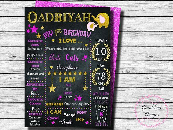 Elephant Birthday chalkboard poster Elephant chalkboard