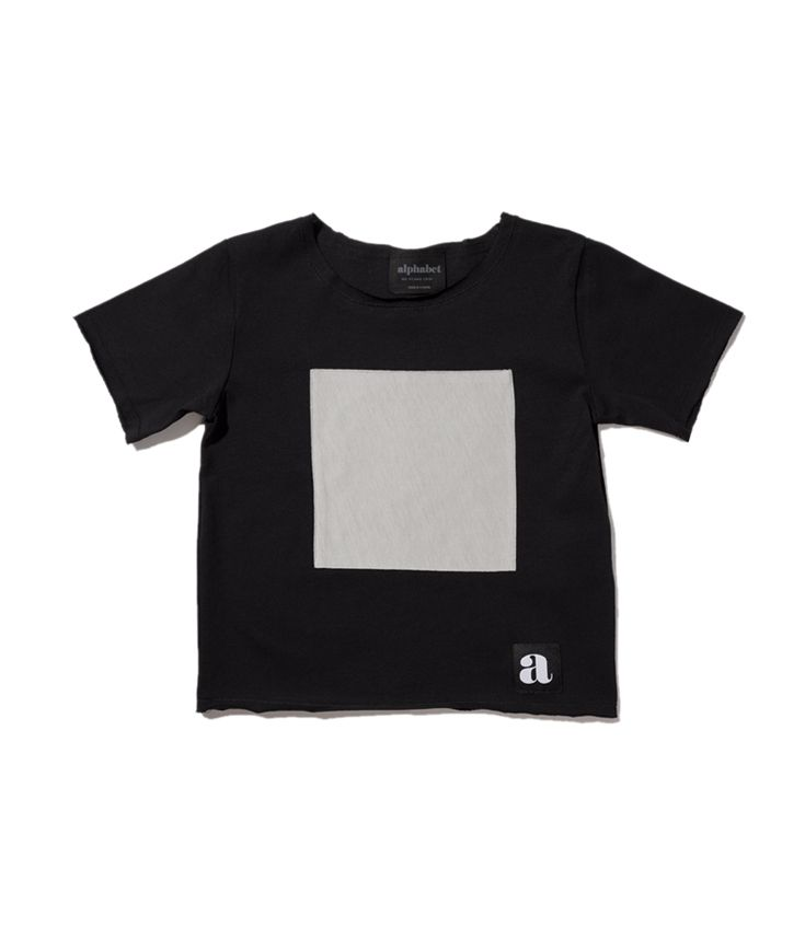 Gray square patch t-shirt