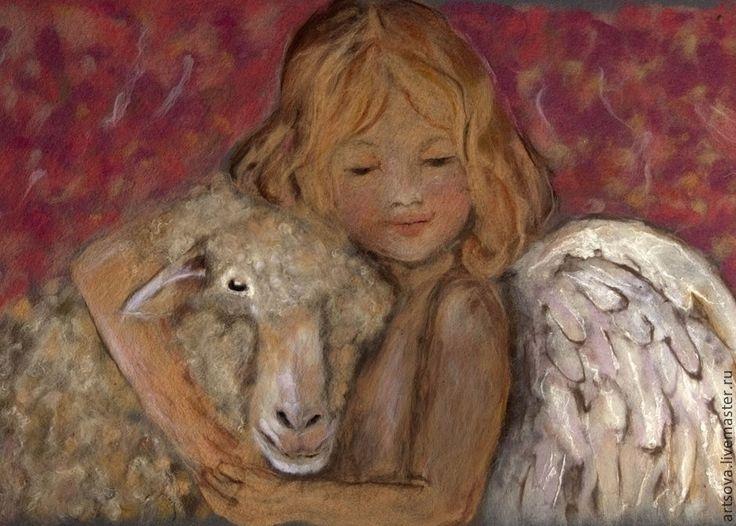Купить картина из шерсти Мой милый друг по мотивам работы Нэнси Ноэль - кремовый