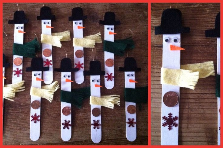 Ijsstokje sneeuwpop. Leuk om te maken met kinderen het is erg makkelijk.    Benodigdheden, grote ijsstokken, witte verf, gekleurd vilt voor hoed en sjaal (de kleuren die jij graag wilt gebruiken), knoopjes, muntjes, oid voor de knopen, lintje oid om de sneeuwman aan op te hangen, lijm(pistool).   Kerst, winter, sneeuwpop, christmas, snowman