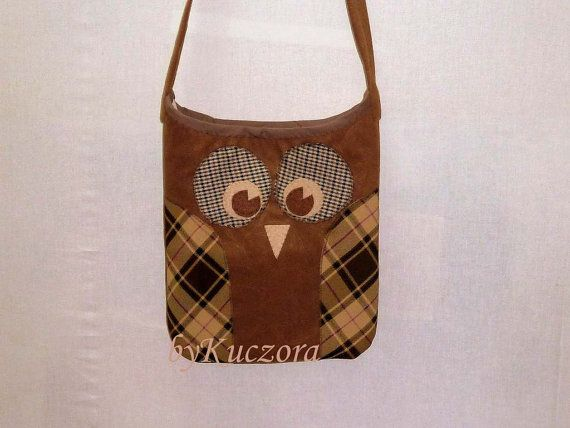 Owl bag, tote, recycled bag, shoulder bag, cross body bag, brown