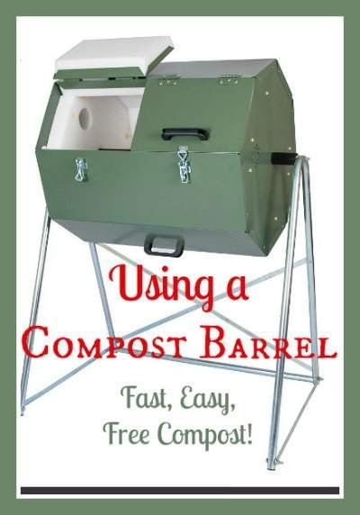 Using a compost barrel tumbler, another way to compost - this one has no odors and composts fast! Found at www.PintSizeFarm.com