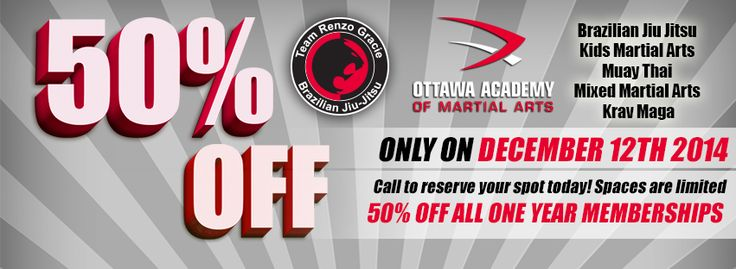 50% Off all memberships! One Day Only! Spaces are limited! Friday December 12th, Call to reserve your spot :) 613-728-0880