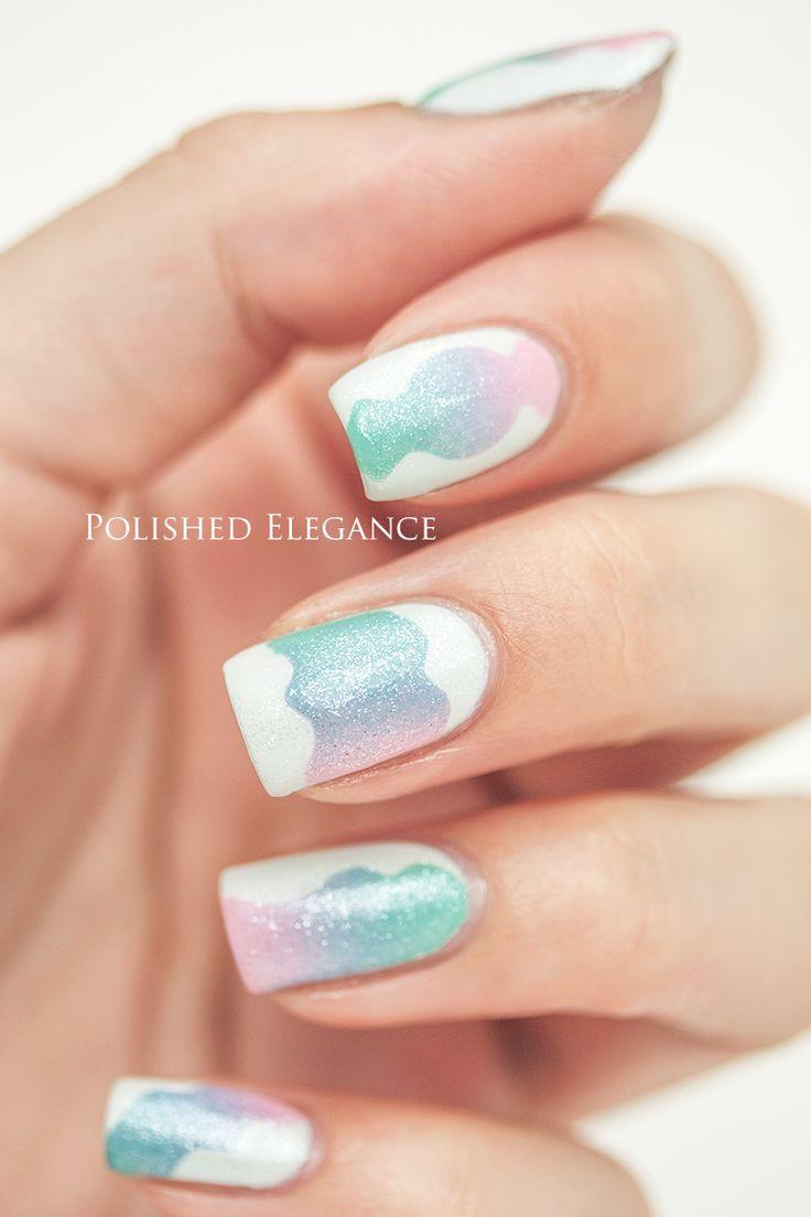 tape white pink blue gradient Dior - 010 nail art manicure nail polish
