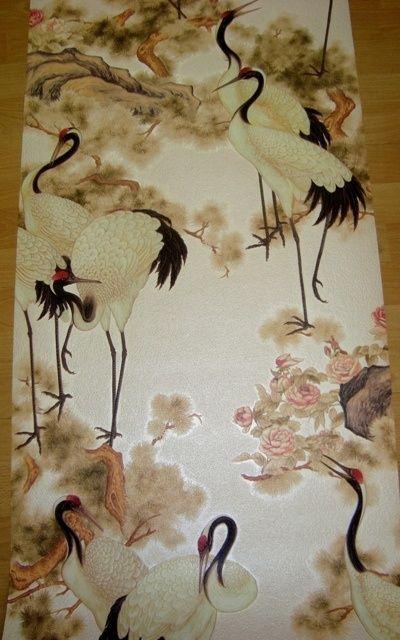 Kraanvogel beige bruin zwart chinees japans oosters vogels vinyl behang 51behang voor op de - Oosters stof ...