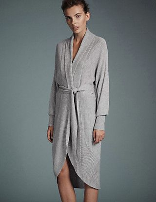 Modal Blend Knitted Cocoon Long Wrap with Cashmere | M&S