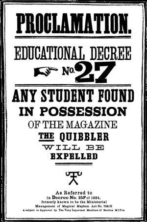 Educational Decree - Harry Potter Wiki, Proclamation -27 Poster.JPG