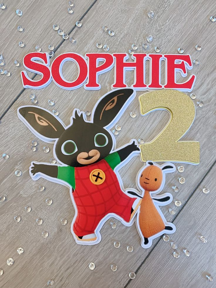 Bing bunny friends themed cake toppers personalised with