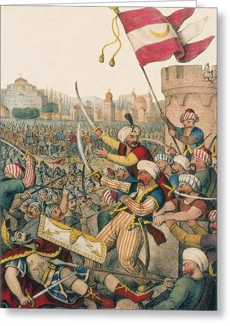 Romanticized illustration from 1832, shows Mehmed II leading his men over the walls of Constantinople while (bottom left) Constantine XI is killed. The Fall of Constantinople was the capture of the capital of the Byzantine Empire by an invading army of the Ottoman Empire on May 29, 1453. by Science Source