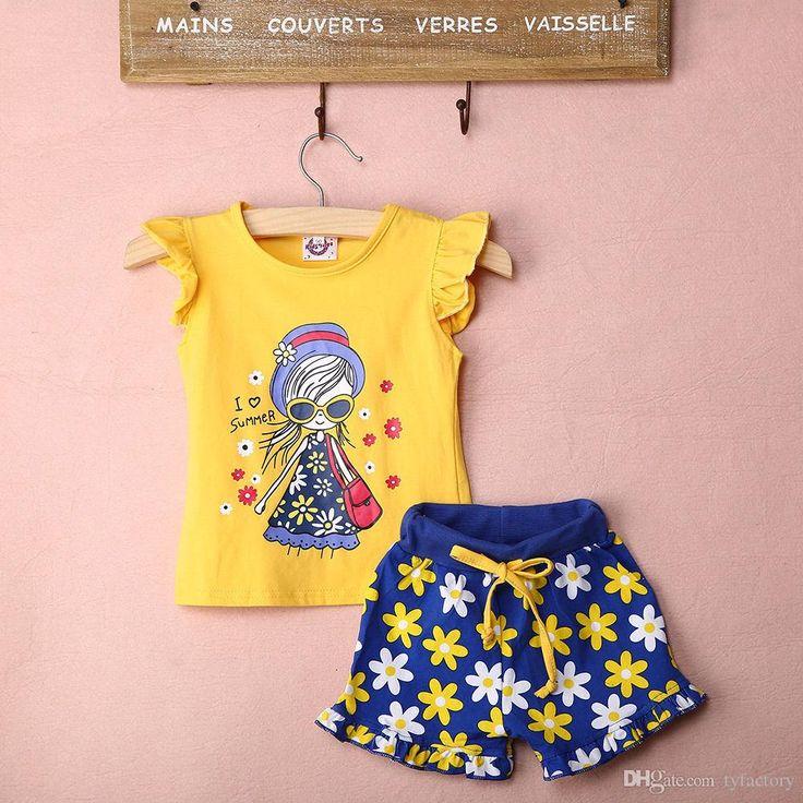 Ropa del bebé muchachas flor azul cortocircuitos + chaleco de la colmena amo el juego de la ropa del verano juegos de los niños del juego de los niños de la ropa del boutique de los cabritos