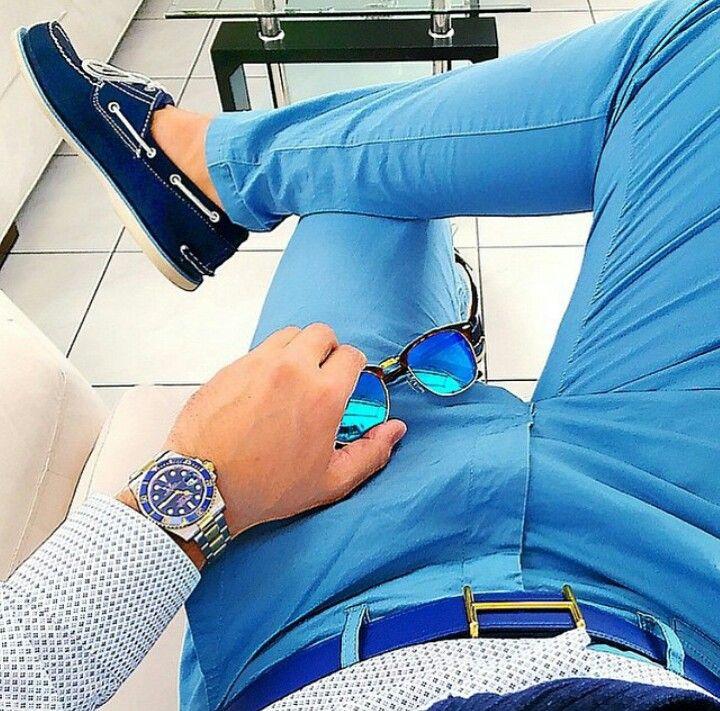 Blue pants, blue boat shoes