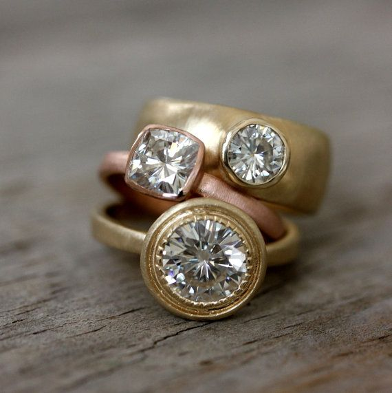 Moissanite and 14k Yellow Gold Engagement Ring by onegarnetgirl, $2498.00