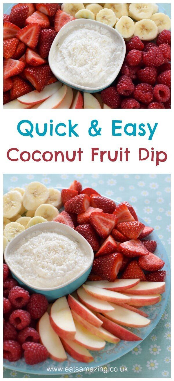 Quick and easy coconut healthy fruit dip recipe - just 3 ingredients yummy kids food from Eats Amazing UK