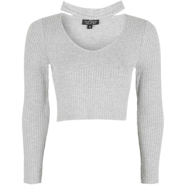 TopShop Petite Long Sleeve Choker Crop Top ($12) ❤ liked on Polyvore featuring tops, grey marl, rayon tops, cut-out crop tops, gray crop top, grey crop top and petite long sleeve tops
