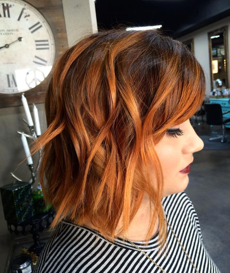COPPER IS EVERYTHING. Deep auburn root + copper #balayage + textured cut.