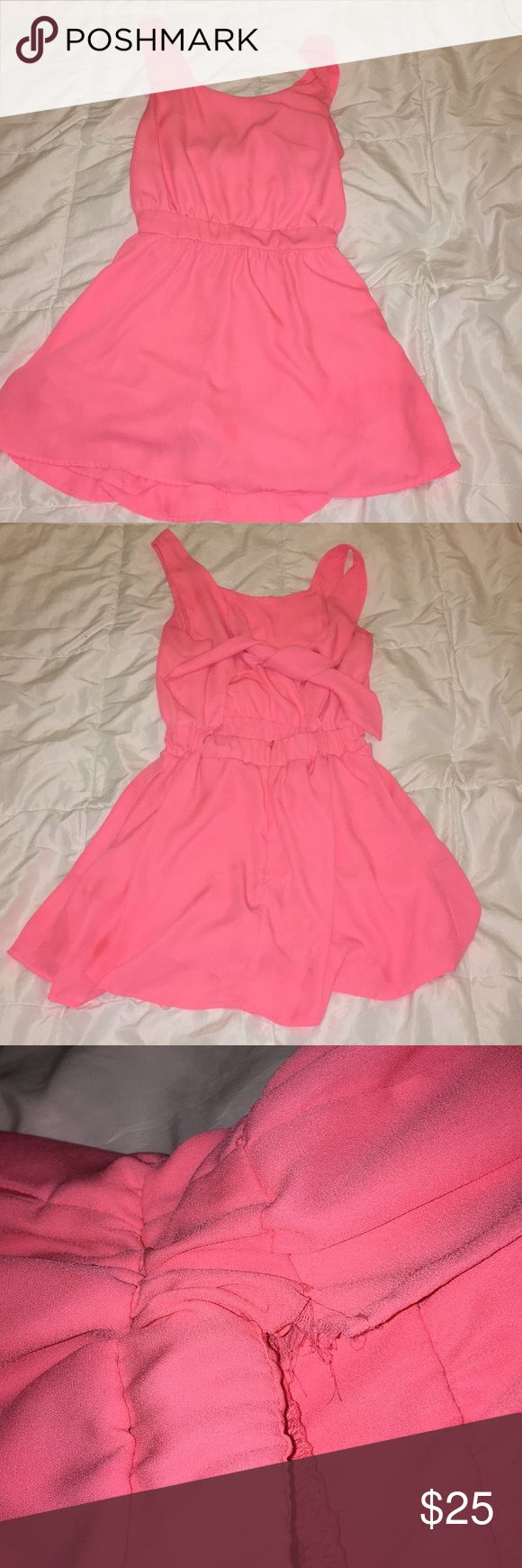 Neon pink dress Neon pink dress, with shorts under. Size small, has small rip in the back Macy's Dresses Mini