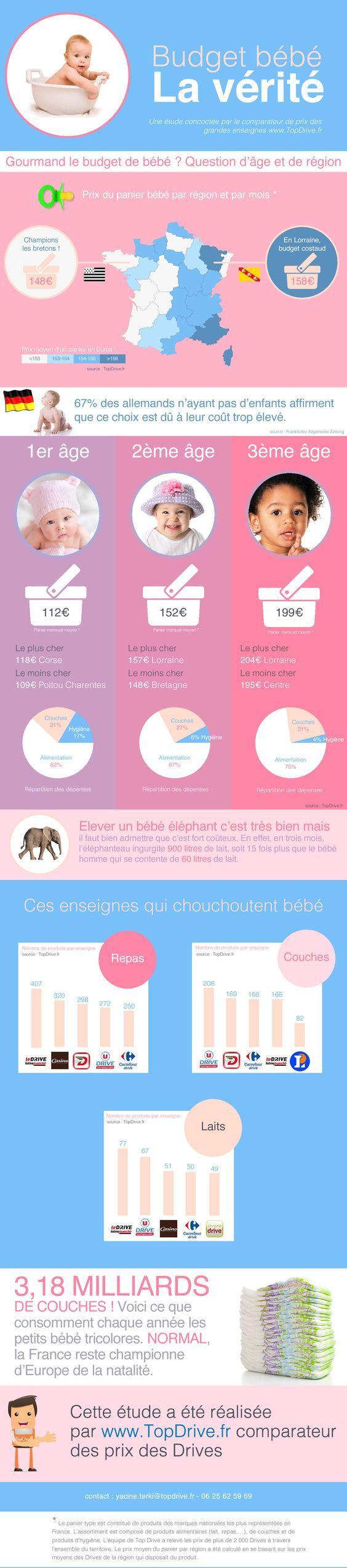 J'ai reçu il y a quelques jour une infographie montrant la différence de budget bébé en France, commandité par un comparateur de prix sur le web.