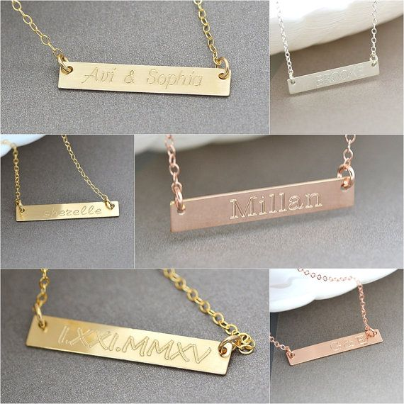 14k Gold Bar Necklace Gold Bar Necklace Personalize Initial