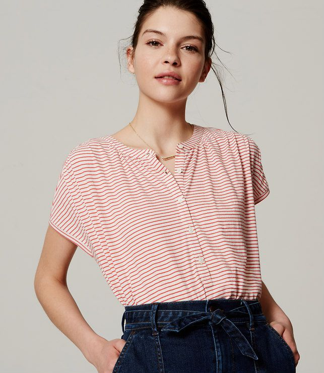 Primary Image of Striped Shirred Henley Tee