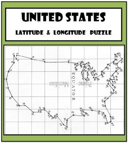 latitude and longitude activity united states coordinates puzzle