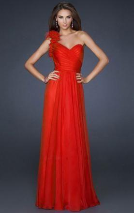 Cheap Fushia Chiffon A-line One-shoulder Prom Dress