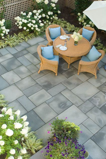 eclectic landscape by Westover Landscape Design, Inc. 6 Ways to Rethink Your Patio Floor http://www.houzz.com/ideabooks/9475352/list/6... Figure out the right material for your spring patio makeover with this mini guide to concrete, wood, brick and stone