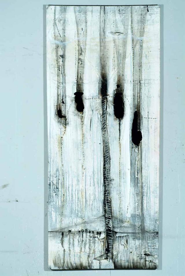 "James Robinson. ""Rise Up"". Medium: acrylic and fire."