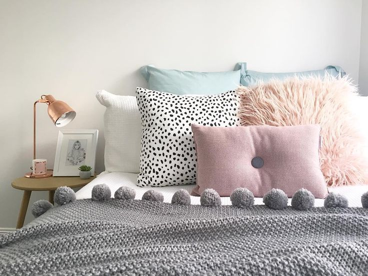 @stylingbytiffany on Instagram: bedroom, bed decor, cushions, adairs, pom pom throw