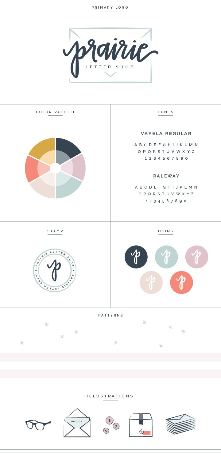 New Brand + Website Design for Prairie Letter Shop - Coral, Navy, and mustard color scheme