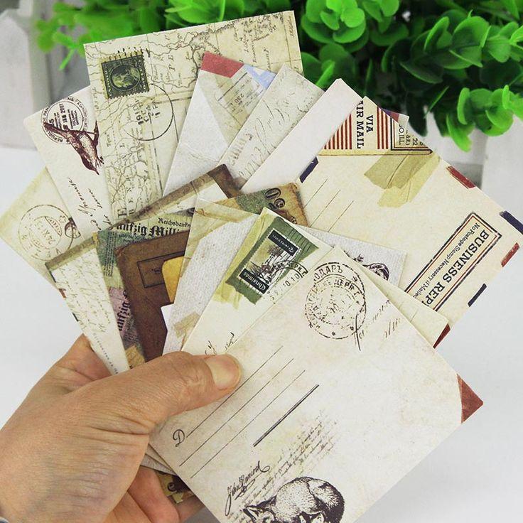12 Unids/set Mini Vintage Retro Papel Kraft Sobres de Papel de Dibujos Animados Lindo de Corea Papelería de Regalo